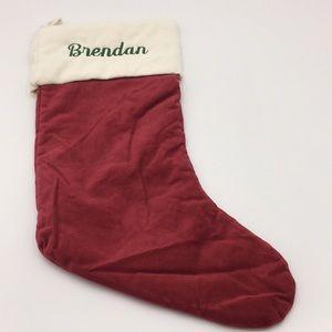 """Pottery Barn Velvet Christmas Stocking """"Brendan"""""""